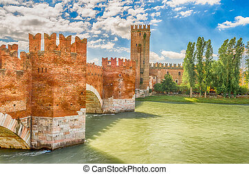 Scaliger Bridge Castelvecchio Bridge in Verona, Italy -...