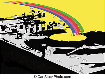 Turntable with reignbow colours.