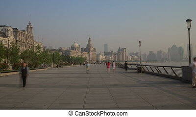 Bund embankment day walk hyperlapse - Bund embankment in...