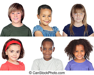 Photo collage of children isolated on a white background