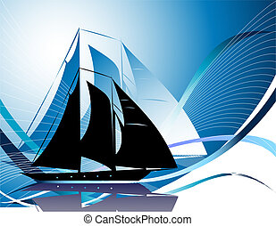 Silhouettes of yachts - Blue background with yacht