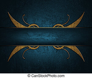 Blue background with a blue nameplate with golden pattern...