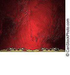 Abstract red background with white cutout and gold ornament....