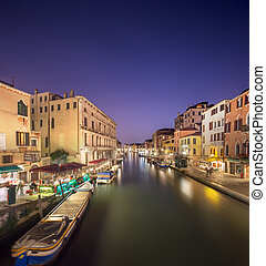 Night view of canals in Venice - Night scene in historic...