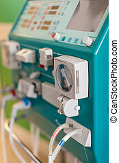 Dialysis in hospital - a dialyser or hemodialysis machine in...