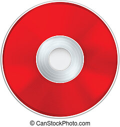 Vector Red Realistic CD Disk