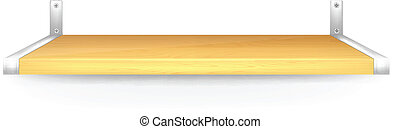 Isolated Realistic Vector Wooden Shelf