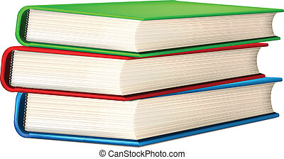 Isolated Vector Stack of Realistic Books