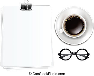 Cup of Coffe with Glasses and Blank Sheets of Paper