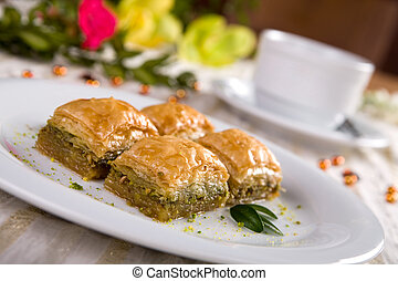Baklava - Fresh Turkish baklava sweet peices.