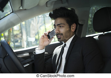 Indian businessman sitting in his car and talking on phone -...