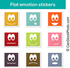 Flat emotion stickers - Set of 9 isolated colorful flat...