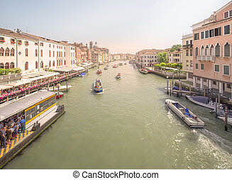 View of vaporetto station on grand canal from Ponte degli...