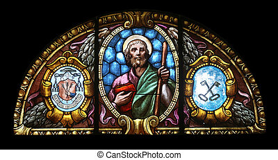 St James the Greater - Stained glass window in the church of...