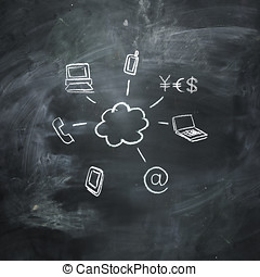 Cloud computing and technology symbols drawn on chalkboard -...