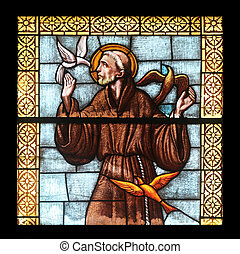 Saint Francis of Assisi, stained glass window in the church...