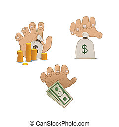 hands on money - illustration of hands on money