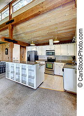 Log cabin house interior. Kitchen room - Log cabin house...