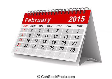 2015 year calendar. February. Isolated 3D image