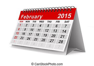 2015, 年, カレンダー, 2 月, 隔離された, 3D,...