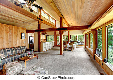 Log cabin house interior