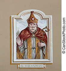 Saint Erasmus painting on the facade of the house in...