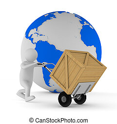 man and wooden box Isolated 3D image