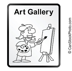 Art Gallery Information Sign - Monochrome comical art...