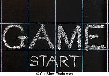 Game start phrase handwritten on black chalkboard