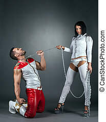 Hot imperious brunette holds partner on leash - Hot...