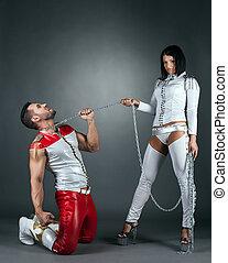 Hot imperious brunette holds partner on leash - Hot...