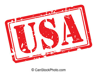 USA text red stamp on white