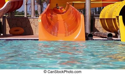 Water park fun - Children have fun with their grandpa in...