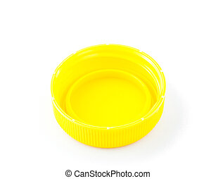 yellow plastic bottle cap isolated