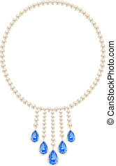 Pearl necklace with five pendants sapphires on a white...