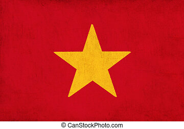 Vietnam flag drawing ,grunge and retro flag series