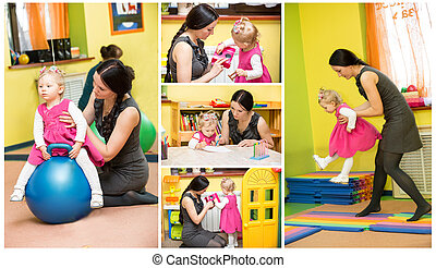 Mother and child girl playing in kindergarten in Montessori...