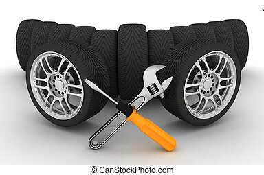 Wheels and Tools - Wheels and Tools. Car service. Isolated...