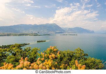 vista, Manerba, rocha, lago, Garda, Itália