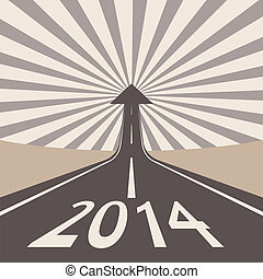 Forward to 2014 new year concept , asphalt road with arrow