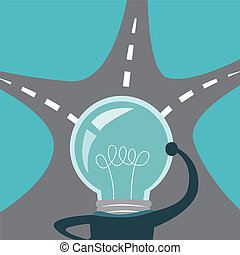 light bulb business man think in front of three fork roads....