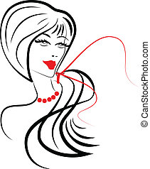 Stylized fashion girl logo - Vector of stylized beauty girl...