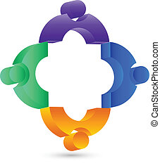 Teamwork 3 D people connection logo - Teamwork 3 D people...