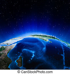 Indian Ocean. Elements of this image furnished by NASA