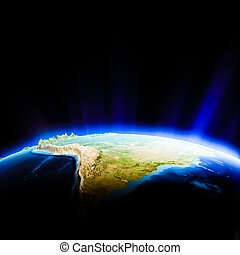 South America. Elements of this image furnished by NASA