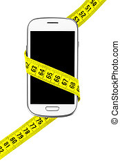 phone measuring tape on an isolated white background