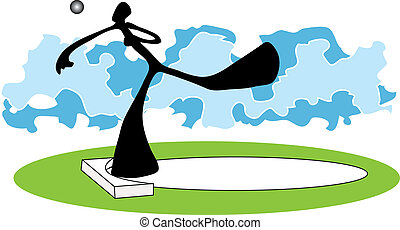 Shot put shadow man - Shadow man putt the weight in the...