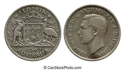 florin, Australia, Georg Sixth, 1947