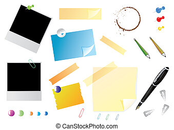 Office stationery set with photos, stickers and pins, vector...