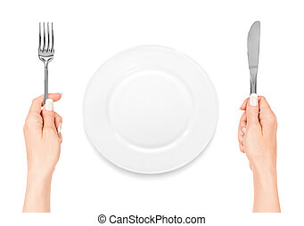 hand holding fork and knife with plate isolated on white...